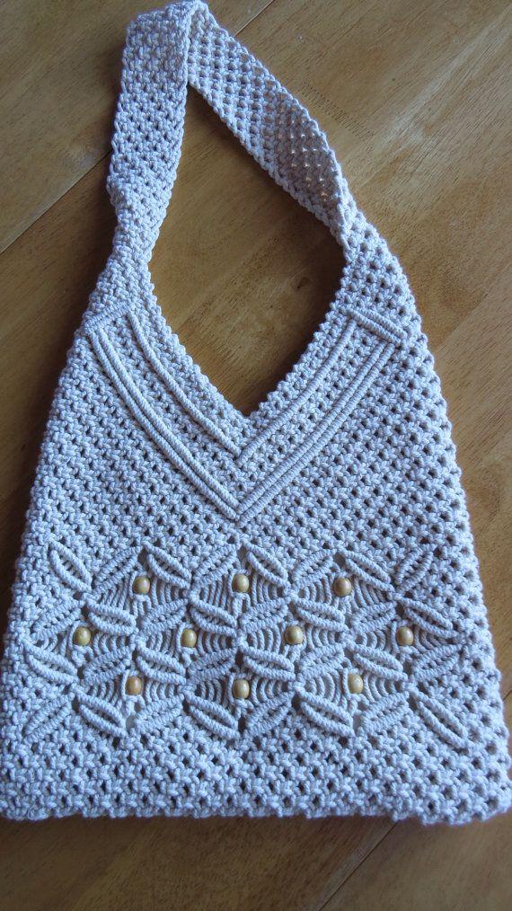 Vintage Cream MACRAMÉ SHOULDER BAG Crocheted Tote Purse Handbag Bohemian Hippie…