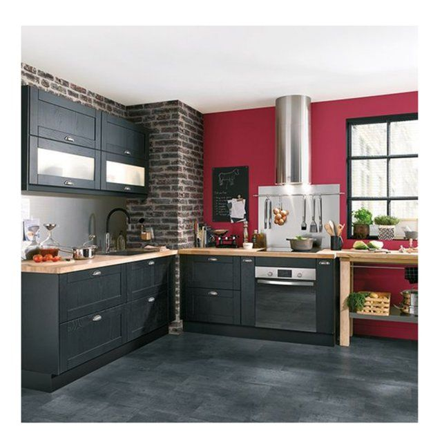 Fabulous cuisine quipe gris anthracite mur rouge with - Cuisine couleur bordeaux brillant ...