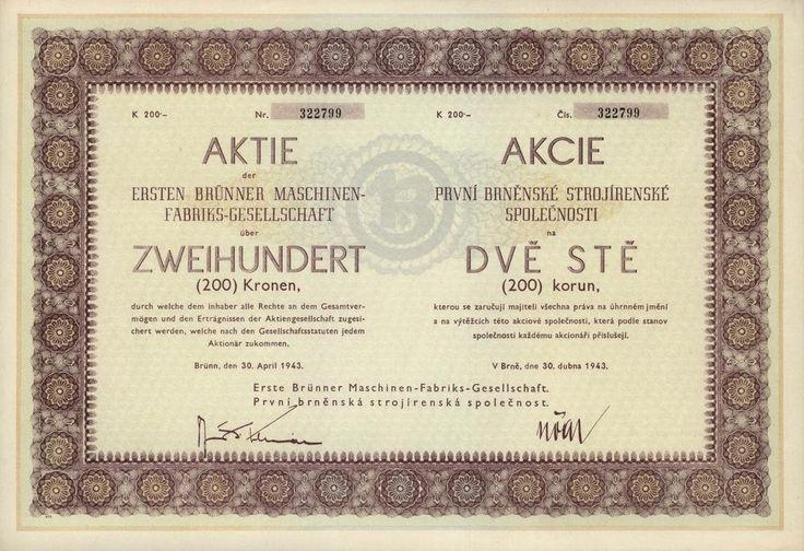 První brněnská strojírenská společnost (Erste Brünner Maschinenfabriks-Gesellschaft). Akcie na 200 Korun. Brno, 1943.