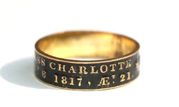 Black enamel mourning ring, dated 1817, commemorating the death of Princess Charlotte who died after giving birth to a stillborn son at the age of 21.