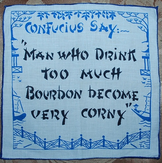 1960s cocktail napkin featuring whimsical Confucius Says sayings $13
