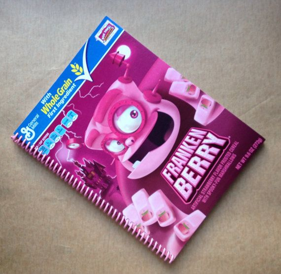 SKETCHBOOK UPCYCLED FRANKENBERRY cereal box spiral bound notebook