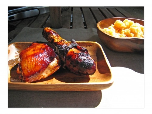 Filipino style chicken barbecue- marinade of sprite, soy sauce, brown sugar and garlic.