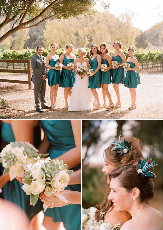 Teal bridesmaid dresses.