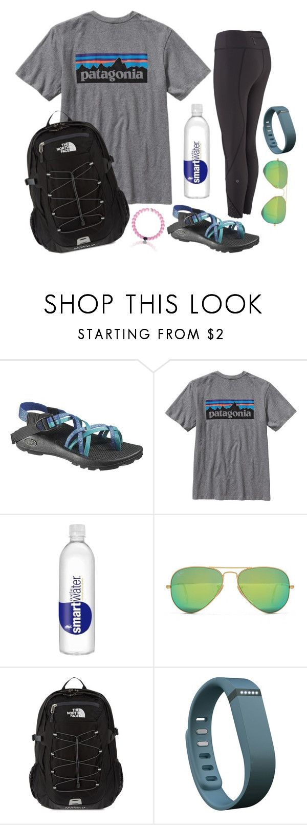 """""""2•18•17 """" by emily-ta ❤ liked on Polyvore featuring Chaco, Patagonia, Ray-Ban, The North Face and Fitbit"""