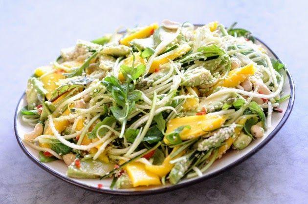 RAW mango-avocado-squash-cashewnuts salad