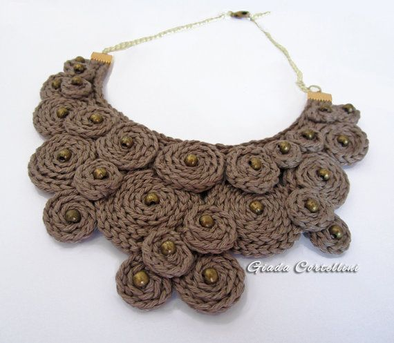 RESERVED for C. - Statement Necklace, Fiber, cotton yarn, crochet, clay, brass beads, spirals, necklace, collar, solid, chain, adjustable