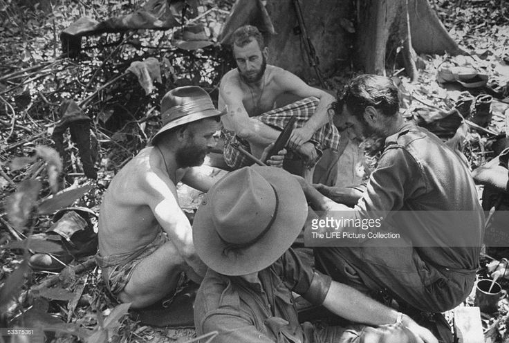 British troops (Wingate Raiders) at jungle base relaxing during break in Burma campaign action.