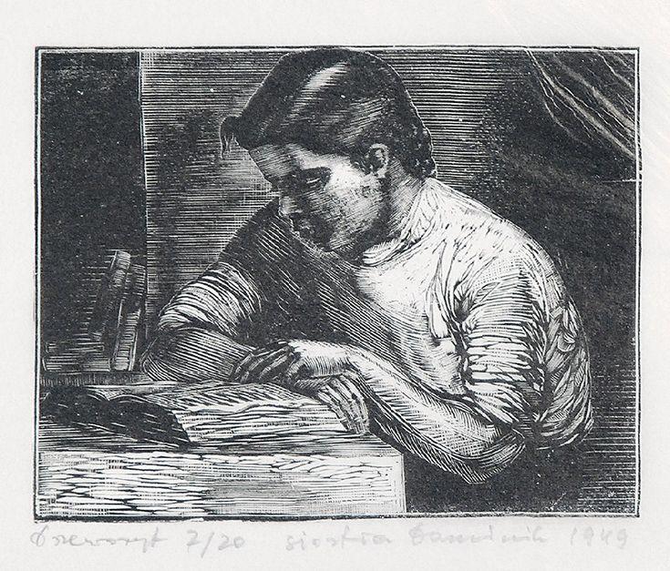 Tadeusz DOMINIK (1928-2014)  Siostra, 1949 drzeworyt, bibuła;  9,5 x 12 cm (wymiar kompozycji); sygn., dat. i opis u dołu ołówkiem: drzeworyt 7/20 Siostra Dominik 1949