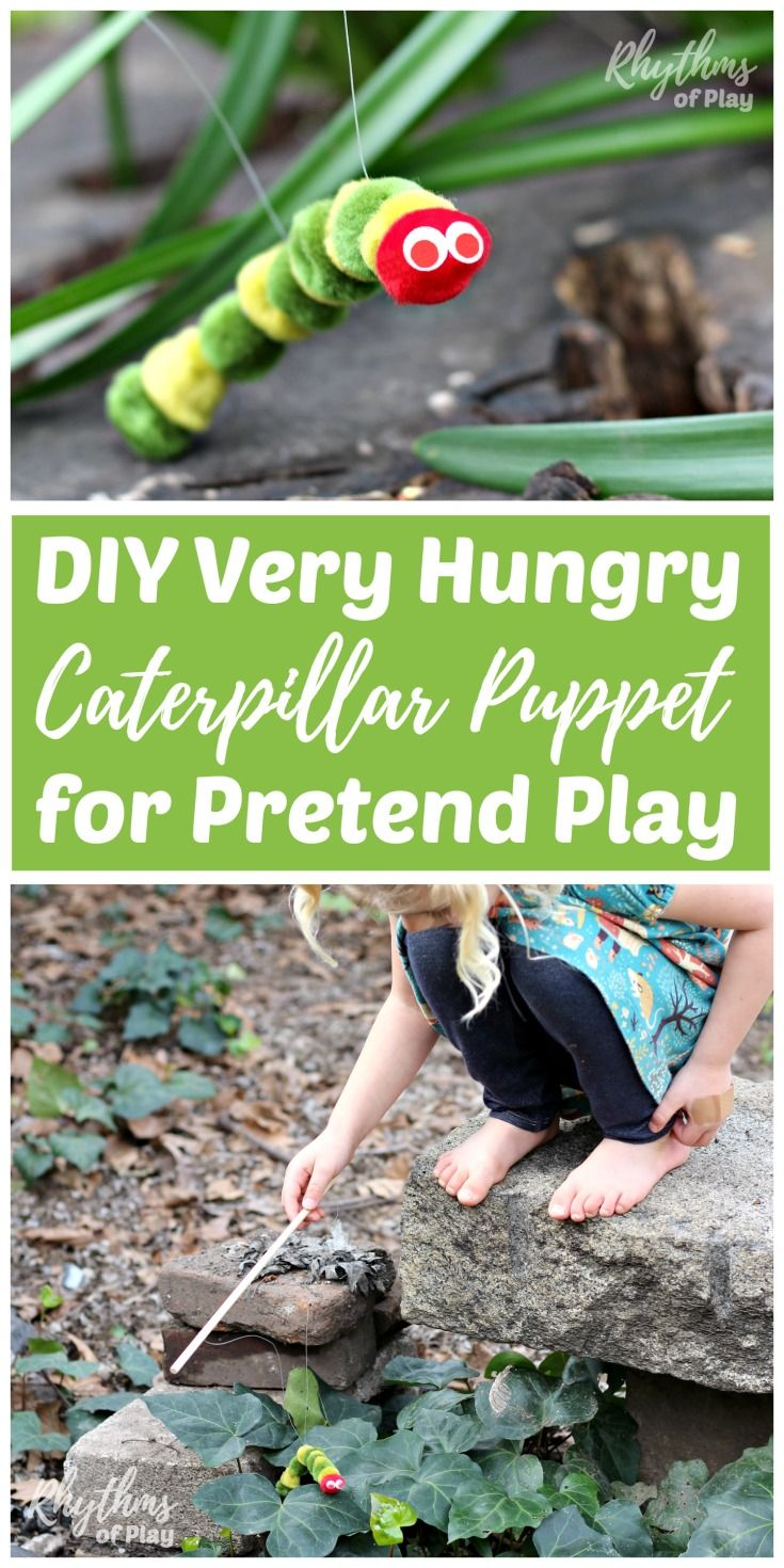 Making a DIY Very Hungry Caterpillar puppet for pretend play is an easy craft kid's can make. It only takes 5 minutes start to finish to make one of these little cuties inspired by popular children's book. Older children will be able to make one of these