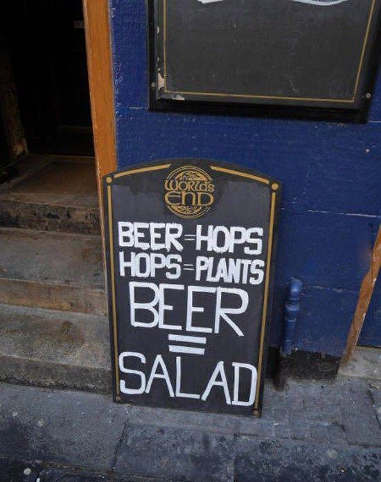 Funny Sidewalk Chalkboard signs outside of restaurants, bars and coffee shops