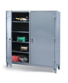 Strong Hold's Double Shift heavy-duty 12 gauge industrial storage cabinet is manufactured with an all welding wrap around style body. Essex Drum Handling carries all Strong Hold Industrial Storage Cabinets - Buy Online or Call Today