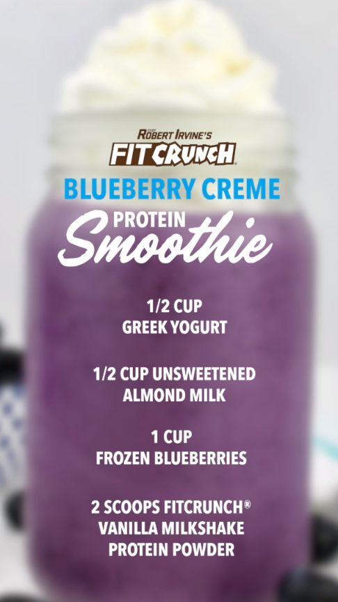 Antioxidant Rich Blueberry Protein Smoothie #fitcrunch #antioxidants #blueberry #smoothie #shake #protein #recipe