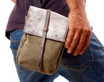 lona y cuero Tote Extra gran bolso bolso del Hobo por RuthKraus