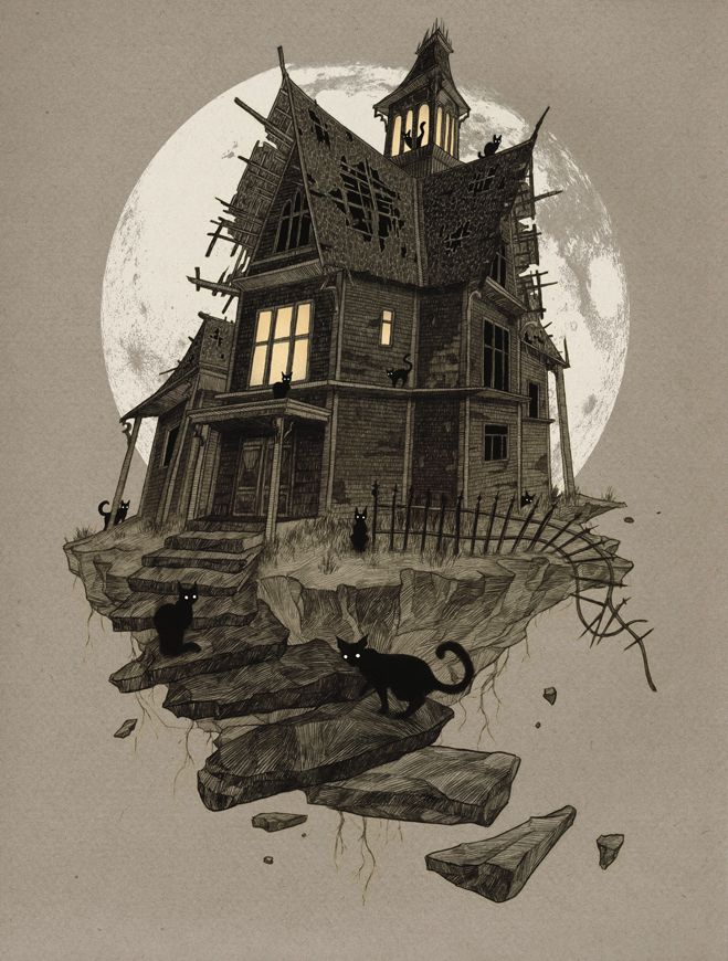 Best 25 Haunted House Drawing Ideas On Pinterest