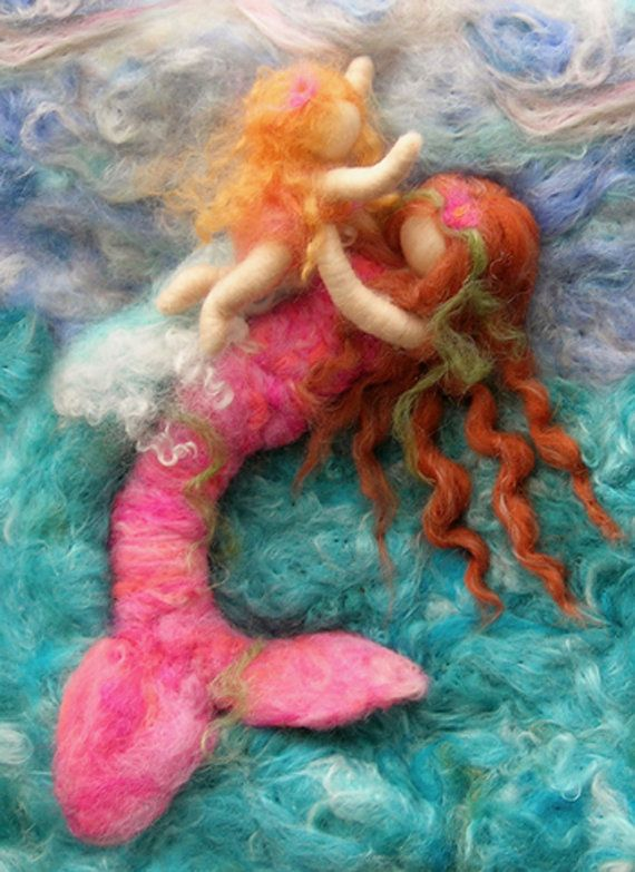 """Printed Note Card - """"Riding the Waves""""-image from wool painting -Waldorf inspired printed greeting card"""