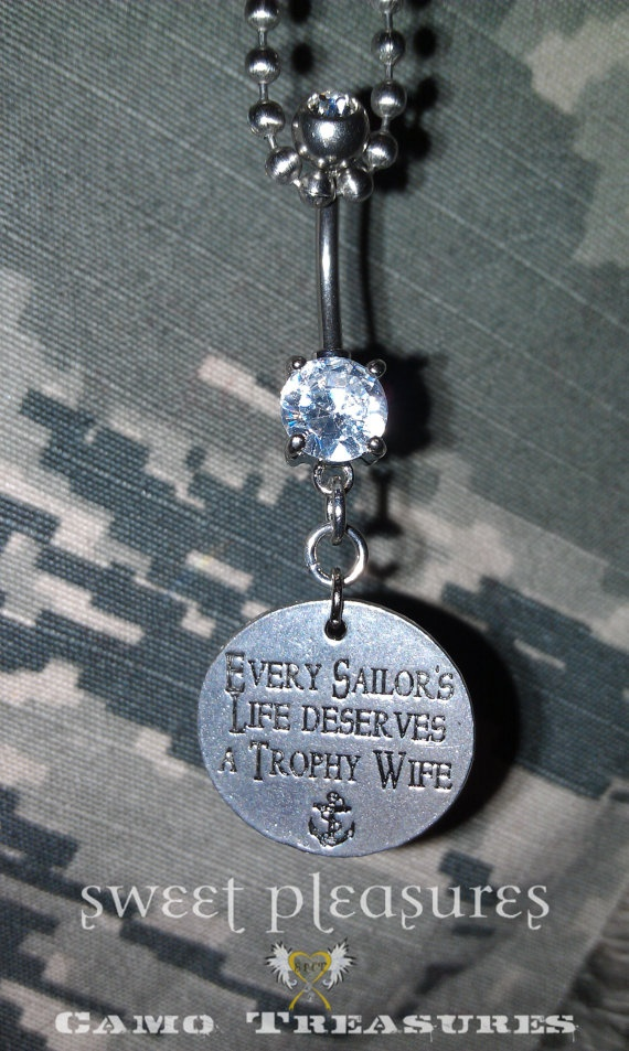 Navy Trophy Wife Belly Ring by AnAirmansAngel on Etsy