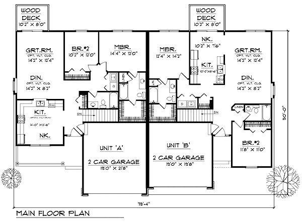 Ranch multi family plan 73487 level one duplex plans for Multi family condo plans