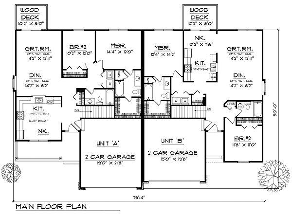 17 best images about duplex floor plans on pinterest for Ranch duplex floor plans