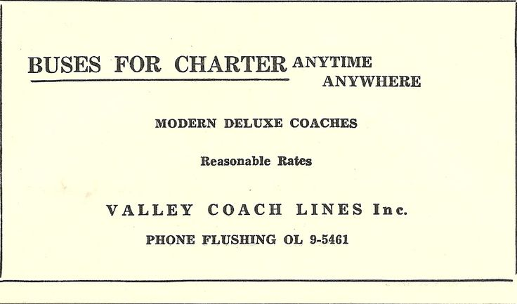 Valley Coach Lines Bus Company in Flushing Michigan advertisement from 1955 on the back of a schedule. Thanks to John Weaver who helped greatly in the restoration of Valley Coach Lines 1948 Marmon Herrington Ford Model 8MB bus #260 for this historic piece.