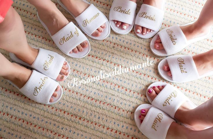 Personalised bride slipper, bridesmaid slippers,hen party slippers, spa day slippers, bridemaid gift slippers, mother of the bride slippers by personaliseddiamante on Etsy https://www.etsy.com/listing/386182024/personalised-bride-slipper-bridesmaid