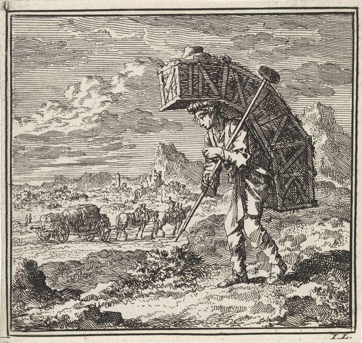 Jan Luyken   Heuvellandschap met een glasverkoper die gebukt gaat onder zijn koopwaar, Jan Luyken, wed. Pieter Arentsz & Cornelis van der Sys (II), 1711  
