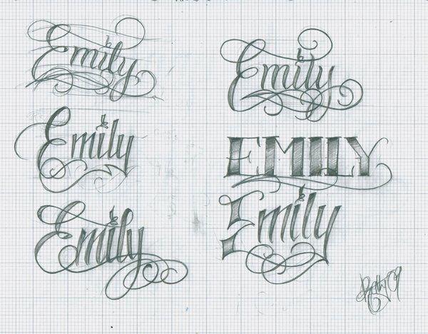 Emily name tattoo