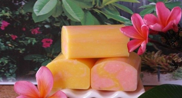 Frangipani Sensations – Goats Milk Soap - This bar contains a blend of our selected vegetable oils then we add Frangipani Fragrant oil, Macadamia oil, Olive oil, extra Coconut oil, Jojoba oil, and of course our Australian Goats Milk to make this bar a splash of summer and that perfect moisturiser for your skin.  All our Goats Milk Soap bars are based on pure vegetable oils and are 124 grams when made, and we expect them to last you between 4-6 weeks with normal use.