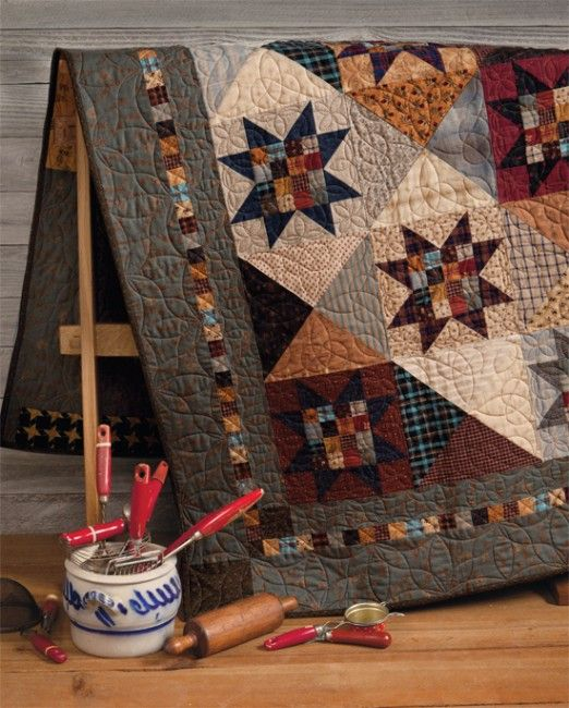 At Home with Country Quilts 11  love the sawtooth stars with 16 patch centers and hourglass blocks alternatingStars Quilt, Doors Design, Vintage Colors, Country Quilts, 16 Patches, Fall Quilt, Colors Combinations, Scrappy Quilt, Quilt Pattern