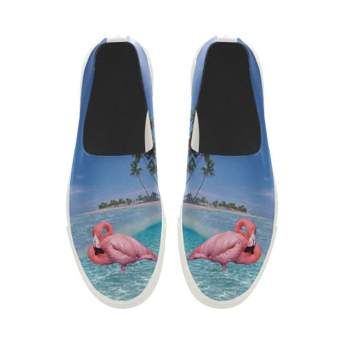 Flamingo and Palms Apus Slip-on Microfiber Women's Shoes(Model 021)