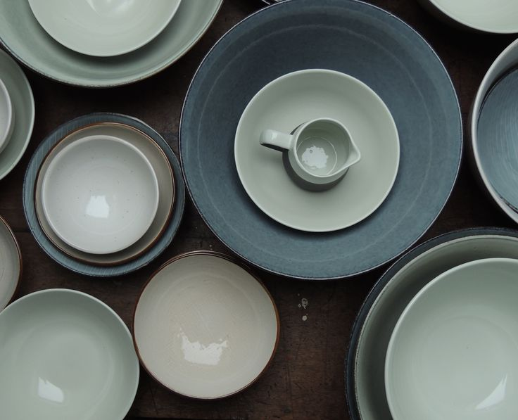 Greys and blues, ceramic bowls, available in store