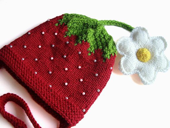 Knitted red baby girls hat Strawberry with great by MiaPiccina