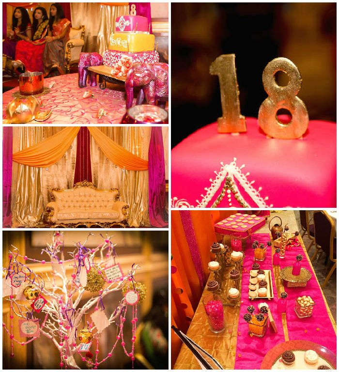 Royal bollywood themed 18th birthday party via kara 39 s for 18th birthday decoration