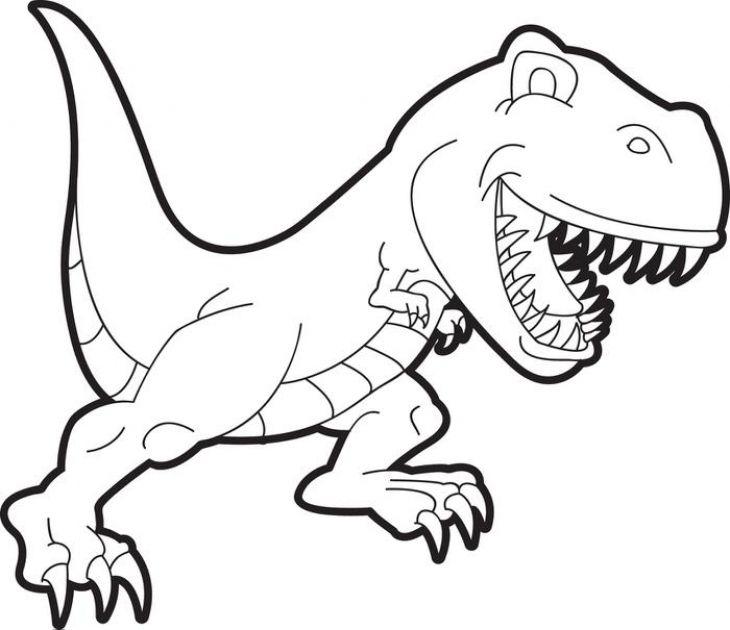 Cartoon TRex Coloring Page For Preschoolers Dinosaur