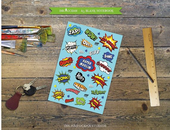 "A5 ""Super Muslim"" notebook, super hero, comic, cartoon print design in blue"