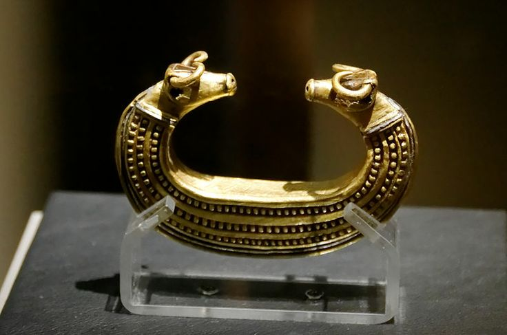 Gold bracelet with bull head from Transylvania. Bronze Age. Hungarian national museum, Budapest