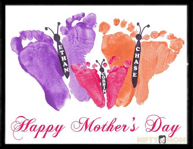 Toddler Footprint Butterflies – Mother's Day Gift Idea http://niftymom.com/2013/04/toddler-footprint-butterflies-mothers-day-gift-idea/