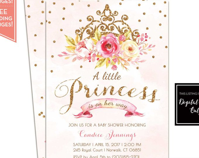 Poco princesa bebé ducha invitación - invitación de cumpleaños de princesa - princesa fiesta invitación - color de rosa y oro - LR1073 para imprimir
