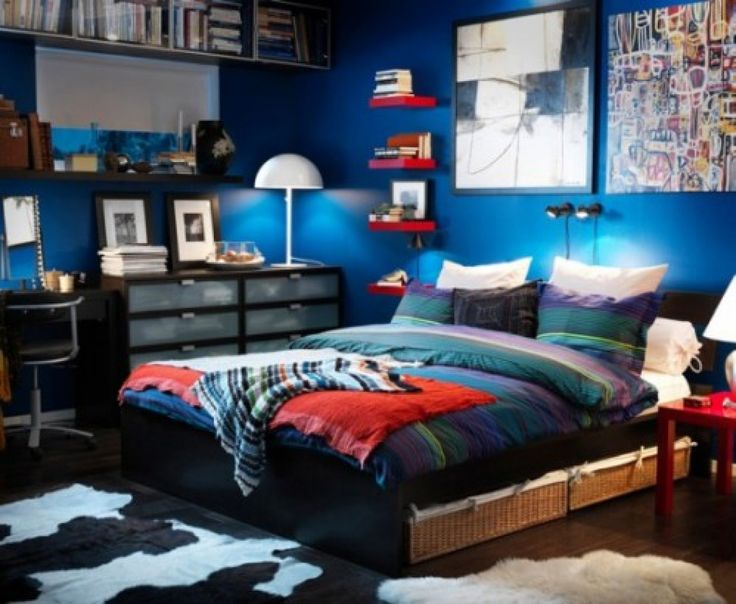 A Collection Of Beautiful IKEA Bedroom Designs : Trendy Blue IKEA Teenage  Bedroom With Colorful Striped Bedding And Wheeled Study Chair