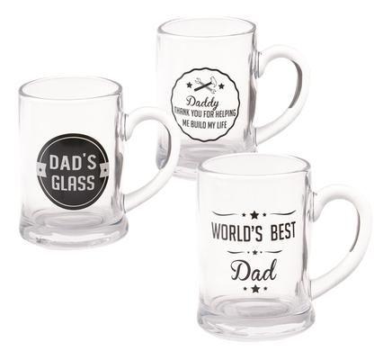Beer-Mug Glass Dad 400ml 3-Asstd