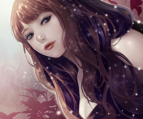 Anime Art Pretty Girl Realism Sultry Long Hair