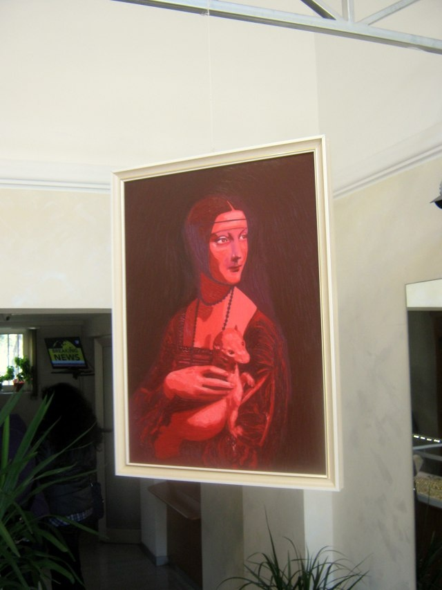 IANUS, Bifrons Painting/Installation, red face.