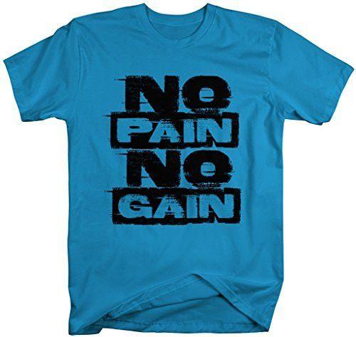 Shirts By Sarah Men's Workout T-Shirt No Pain No Gain Gym Shirts