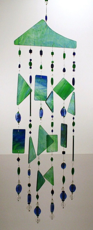 Blue  Green Glass Windchime Suncatcher Stained by DeblieDesigns, $59.00