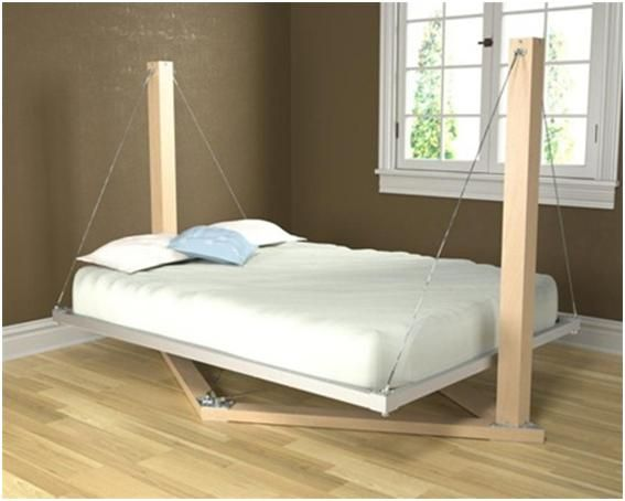 Suspended Bed by Housefish. Creative suspended bed held by machined aluminum, stainless steel tension cables. The mattress platform is held completely rigid - it does not swing or sway.