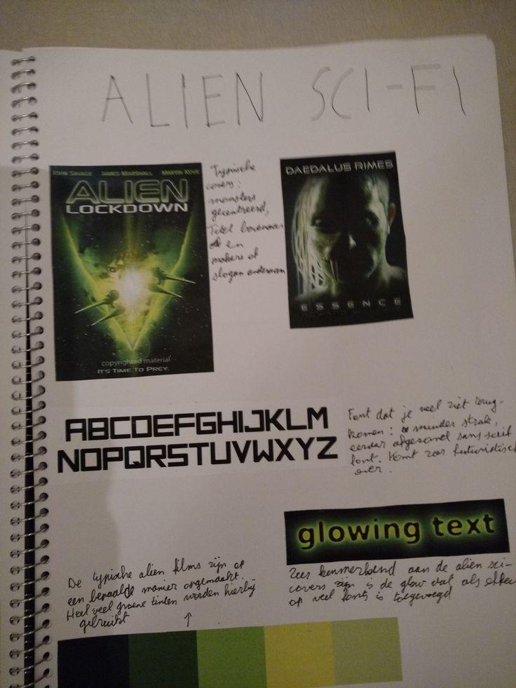 De studie van en het beschrijven van enkele typische kenmerken bij 'Alien Sci-Fi'. De groene kleuren vallen hierbij al extra op.
