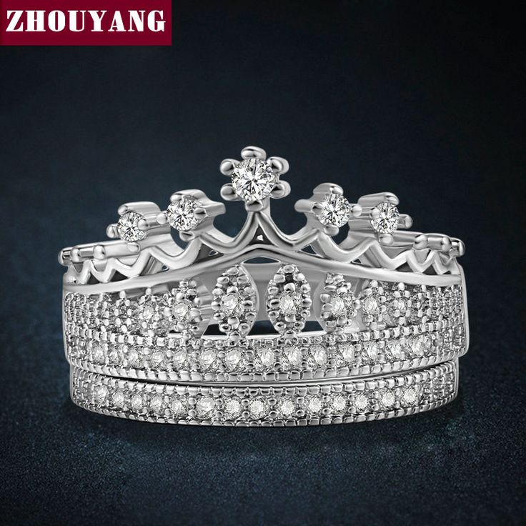 Princess's Crown CZ Wedding Rings Platinum Plated Silver Color Fashion AAA+ Crystal Engagement Jewelry Wholesale ZYR685