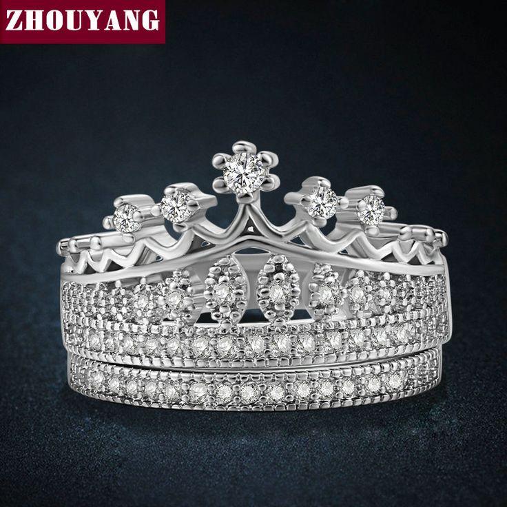 Principessa Corona Cubic Zirconia Anelli di Nozze D'argento di Colore di Modo di Colore Argento AAA + Cristallo Di Fidanzamento Monili All'ingrosso ZYR685