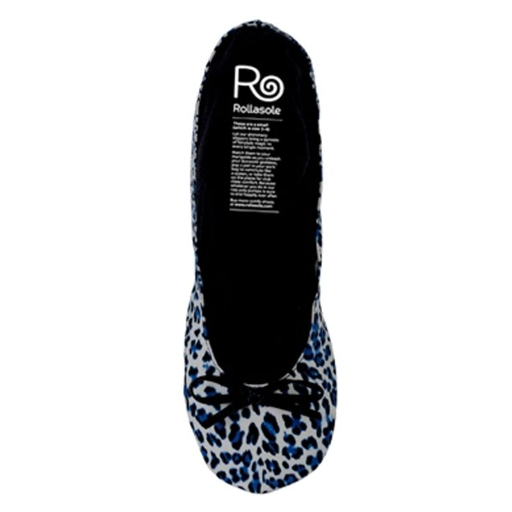 Rollasole Rollable Ballet Flats:Blue leopard Print Now at $14.00 - #travelshoes #blalletflats #foldableshoes