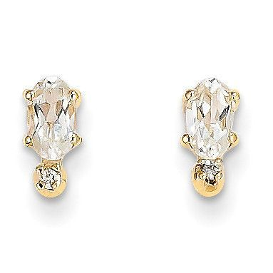14k Diamond & White Topaz Birthstone Earrings XBE183